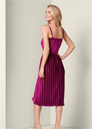 Back View Velvet Pleated Dress