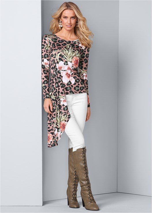 ASYMMETRICAL PRINT TOP,COLOR SKINNY JEANS,LACE UP TALL BOOTS