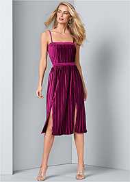 Alternate View Velvet Pleated Dress