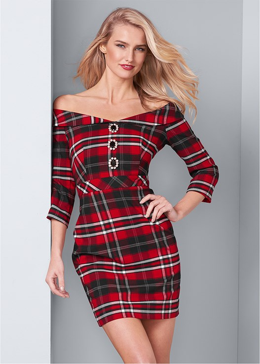 PLAID DETAIL DRESS,FULL FIGURE STRAPLESS BRA