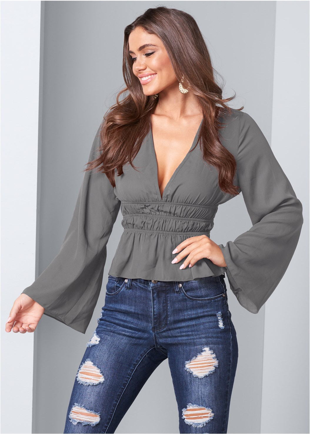 Deep V-Neck Bell Sleeve Top,Ripped Bum Lifter Jeans,Cupid U Plunge Bra,Lace Up Tall Boots,Buckle Riding Boots,Beaded Drop Earrings