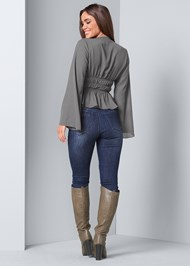 Back View Deep V-Neck Bell Sleeve Top