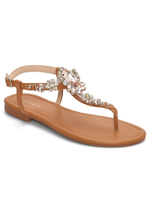 JEWELED THONG SANDALS