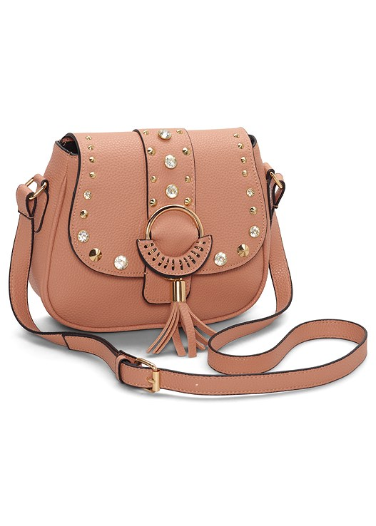 STUDDED SATCHEL CROSSBODY,RING DETAIL CROP TOP,FRAYED JEANS