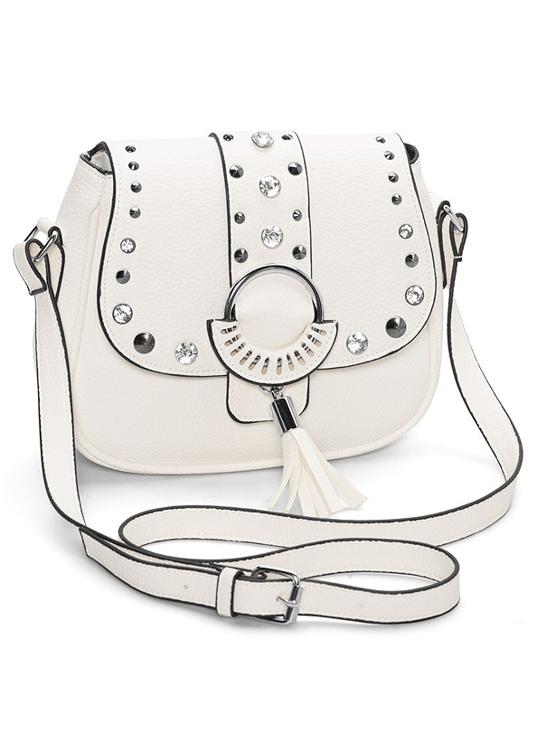 Studded Satchel Crossbody,Strappy Detail Top,Frayed Cut Off Jean Shorts