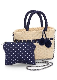 Flatshot front view Pom Pom Detail Straw Bag
