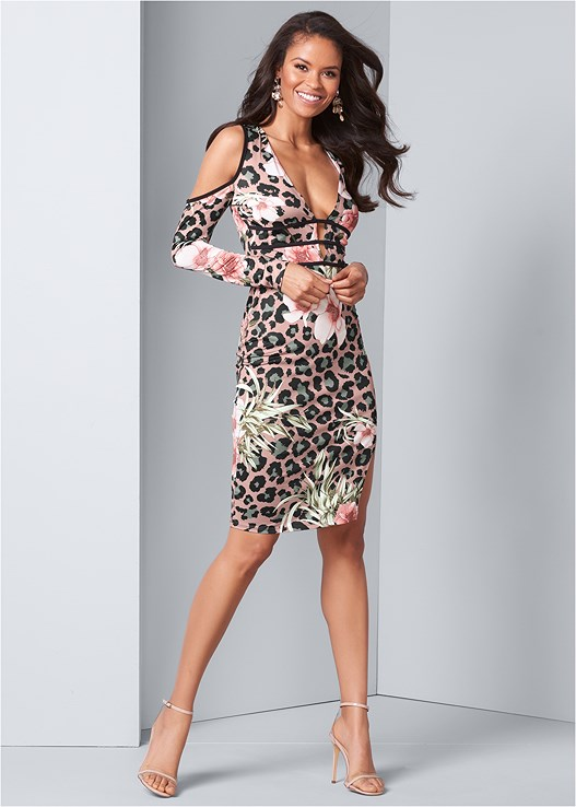 ANIMAL PRINT BODYCON DRESS,CONFIDENCE INVISIBLE BRA,CUPID U PLUNGE BRA,LUCITE DETAIL HEELS,EMBELLISHED DROP EARRINGS