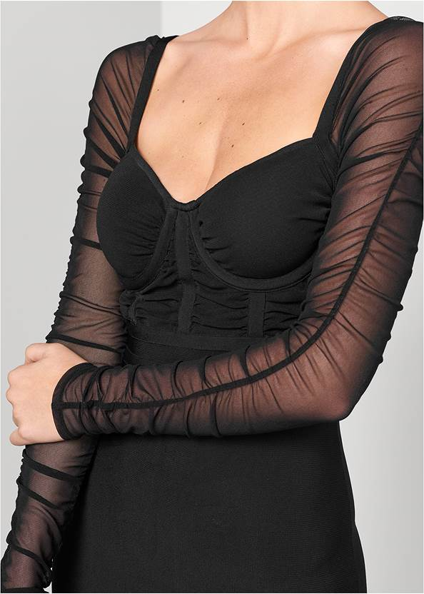 Alternate View Mesh Sleeve Bandage Dress
