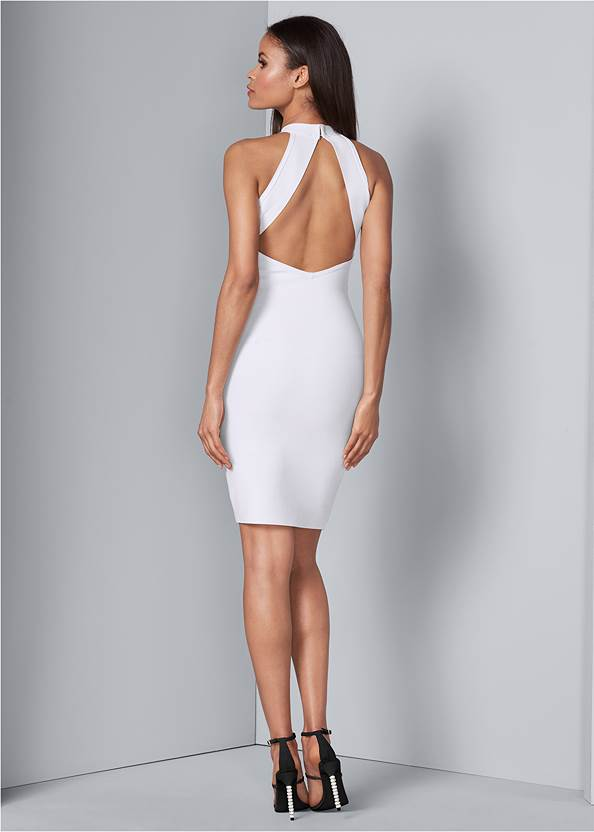 Back View Pearl Detail Bandage Dress