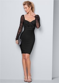 Alternate View Mesh Sleeve Bandage Dress