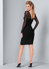 Back View Mesh Sleeve Bandage Dress