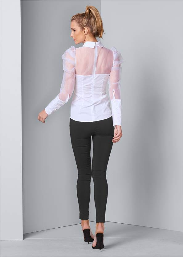 Back View Puff Sleeve Blouse