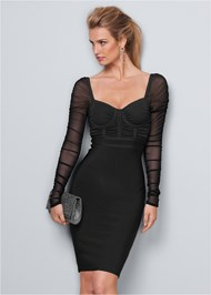 Front View Mesh Sleeve Bandage Dress