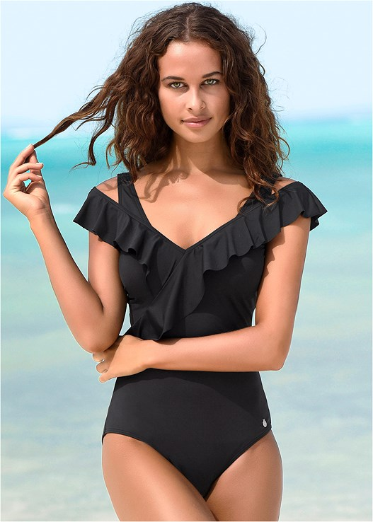 MULTIWAY RUFFLED ONE-PIECE,PARADISE ROMPER COVER-UP,EMBELLISHED SANDALS