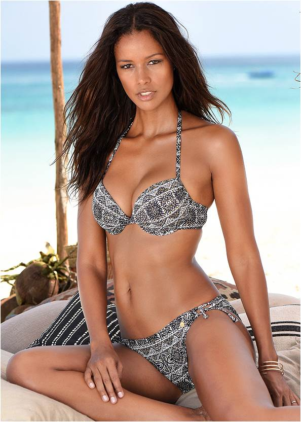 Push Up Bikini Top,Low Rise Banded Bottom,Low Rise Ringed Bottom,Crochet Detail Cover-Up