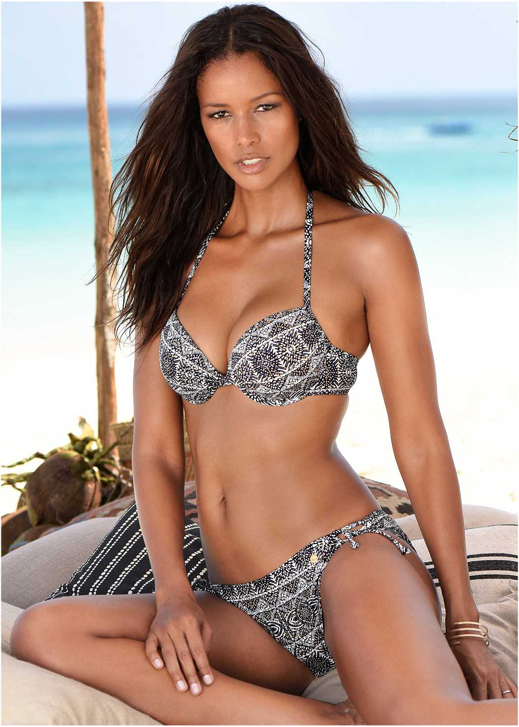 Push Up Bikini Top,Low Rise Ring Side Bottom,Low Rise Banded Bottom,Low Rise Ringed Bottom,Crochet Detail Cover-Up