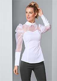 Front View Puff Sleeve Blouse