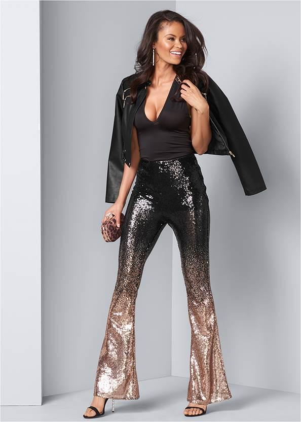 Front View Sheer Ombre Sequin Pants