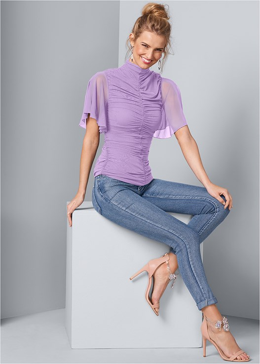 RUCHED MESH TOP,COLOR SKINNY JEANS,UNLINED GEO LACE BRA,MID RISE BRIEFS,EMBELLISHED HEELS,EMBELLISHED EARRINGS