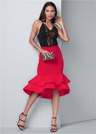 Front View Peplum Midi Skirt