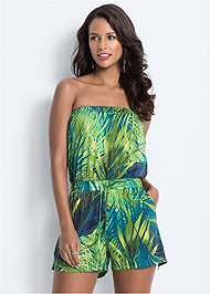 Front View Strapless Palm Print Romper