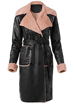 plus size faux leather midi coat