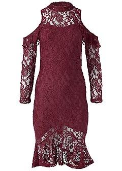 plus size high low lace dress