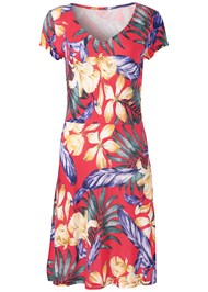 Alternate View Floral A-Line Midi Dress