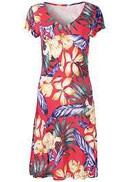 Alternate View Floral A-Line Midi Dress
