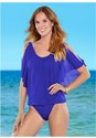 Full front view Mesh Ruffle Tankini Top