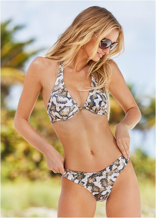 Scoop Front Classic Bikini Bottom ,Enhancer Push Up Triangle Top