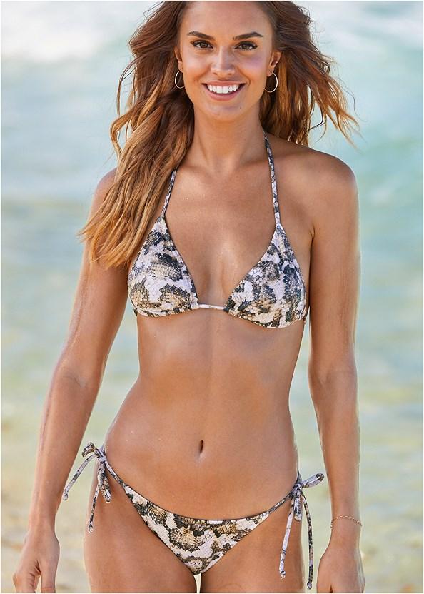 Triangle String Bikini Top,String Side Bikini Bottom,Scoop Front Classic Bikini Bottom ,Convertible Dress/Skirt