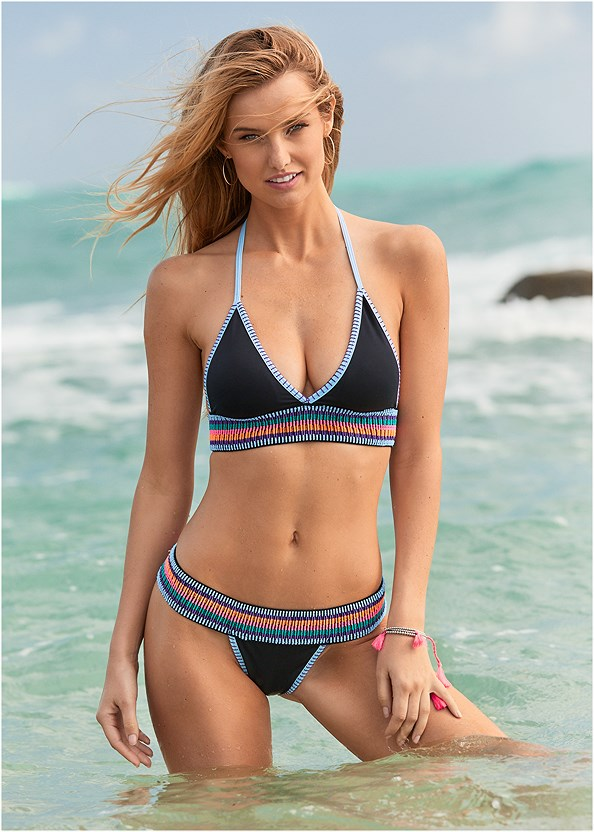 Colorful Bikini Bottom,Off The Shoulder Bralette