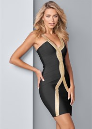 Cropped Front View Bandage Bodycon Dress