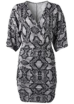plus size glitter python print dress