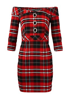 plus size plaid detail dress