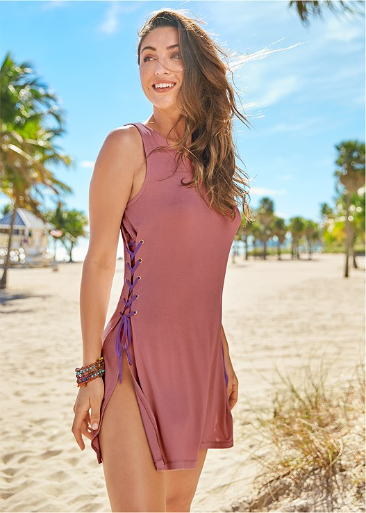LACE UP COVER UP DRESS,MARILYN PUSH UP BRA TOP,SCOOP FRONT BIKINI BOTTOM,JESSICA SIMPSON BRAELYN2,RESIN DOUBLE HOOP EARRINGS