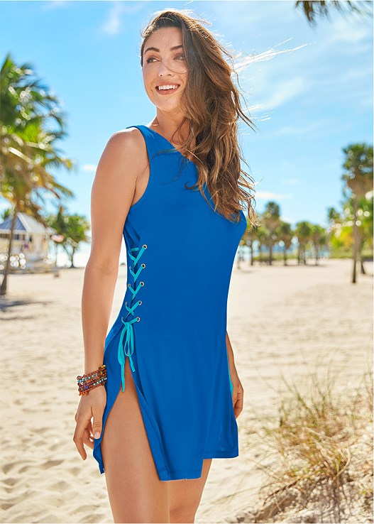 LACE UP COVER UP DRESS,MARILYN PUSH UP BRA TOP,SCOOP FRONT BIKINI BOTTOM