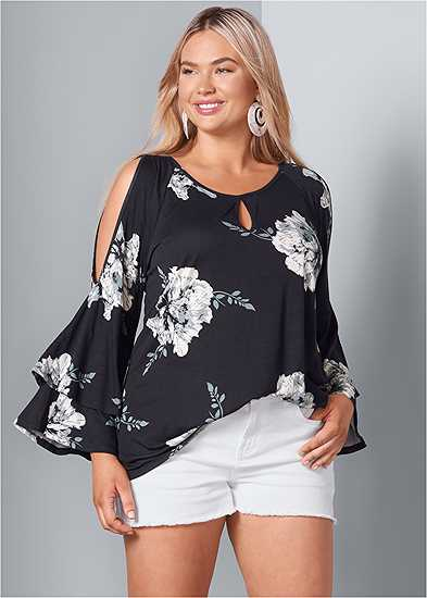 Plus Size Floral Tiered Sleeve Top