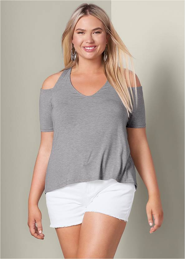 Cold-Shoulder Top,Frayed Cut Off Jean Shorts