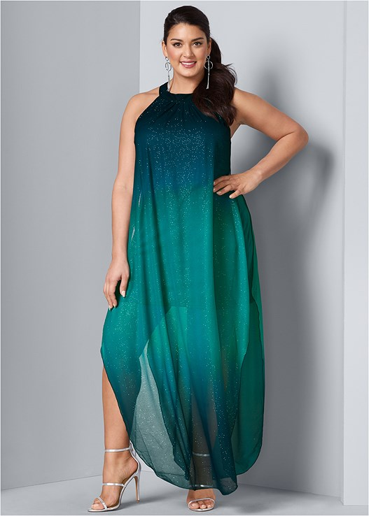 565407cb Maxi Dress: OMBRE GLITTER LONG DRESS | VENUS
