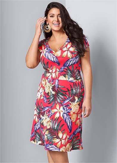 Plus Size Floral A-Line Midi Dress