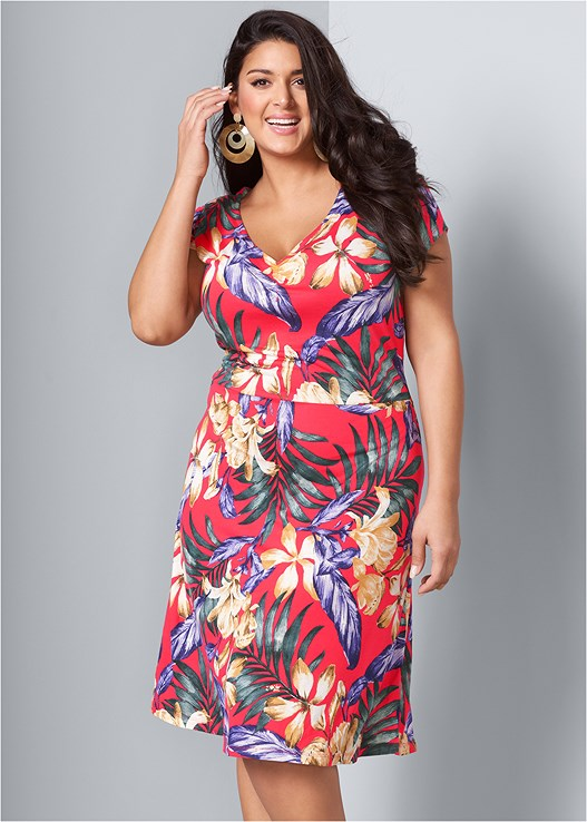 Plus Size FLORAL SURPLICE DRESS | VENUS
