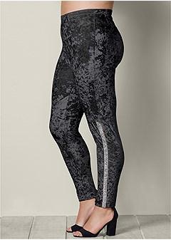 plus size embellished velvet leggings