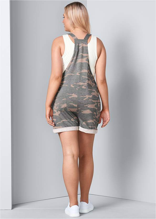 Back View French Terry  Drawstring Short Overalls