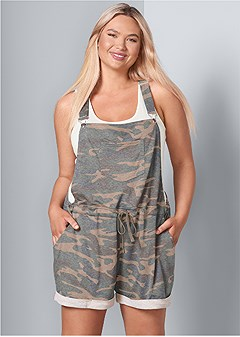 plus size french terry short overalls