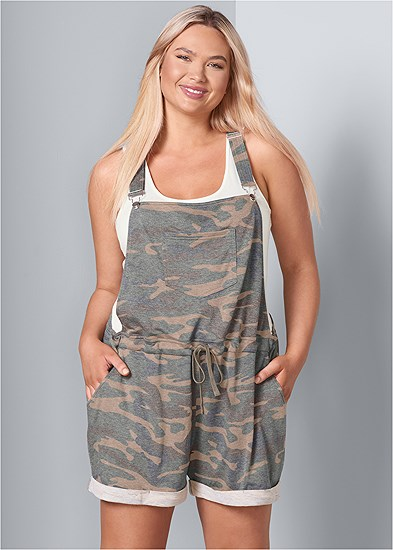 Plus Size French Terry  Drawstring Short Overalls
