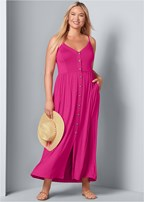 plus size button front maxi dress