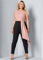plus size drape detail jumpsuit