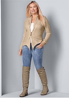 plus size buckle front cardigan